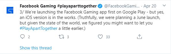 Facebook gaming app release announcement Twitter